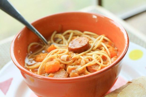 beans and spaghetti