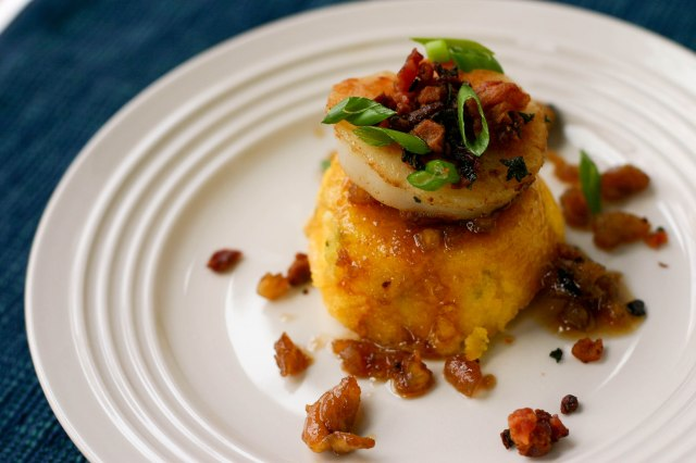Seared Scallops over polenta muffins