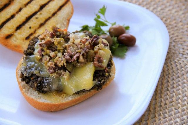 Black Beluga Lentil Burgers with Muffaletta Olive Salad
