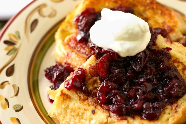 Cherry Topped Malted French Toast