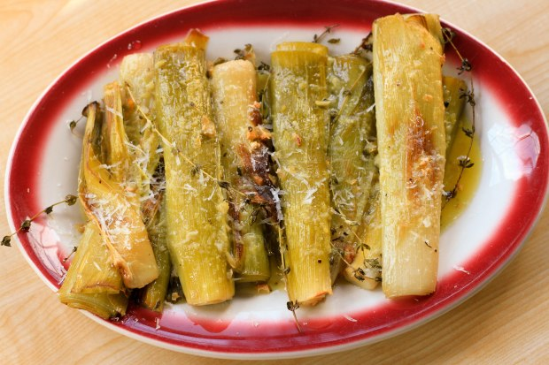 leeks with garlic and parmesan