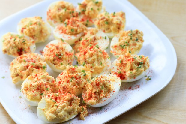 Lobster Deviled Eggs with Truffle Salt