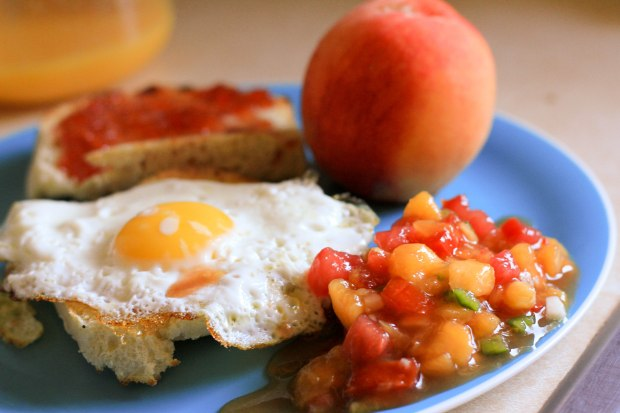 peach salsa and eggs