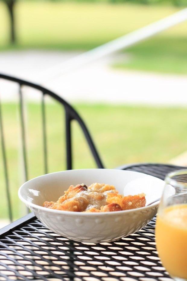 peaches in bread pudding