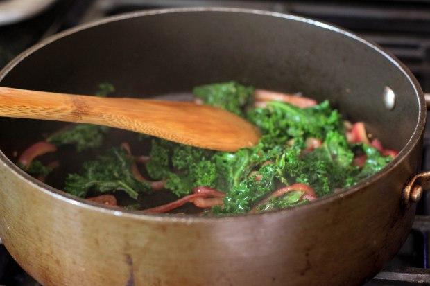 kale and shallots