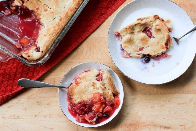 peach rhubarb blueberry cobbler
