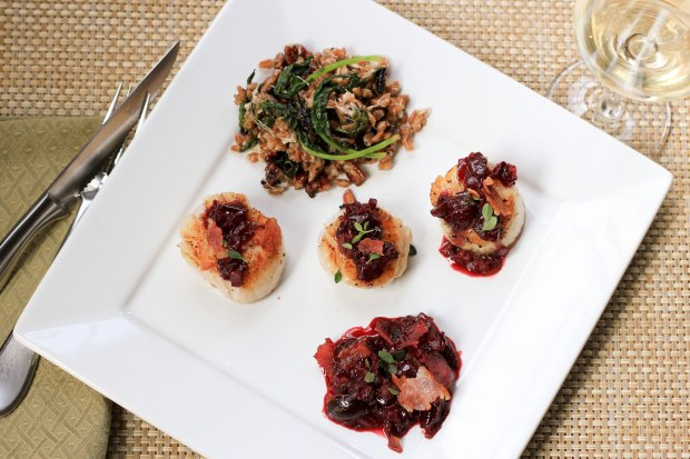 seared scallops with cherry sauce