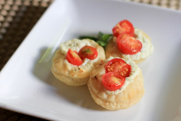 grape tomato and whipped feta puff pastry bites