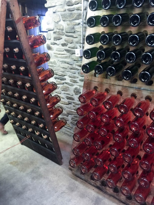 Sparkling wine riddling at Chateau Frank