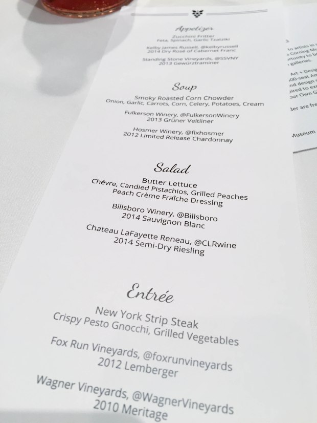 Dinner and tasting menu from the closing dinner at the Corning Museum of Glass