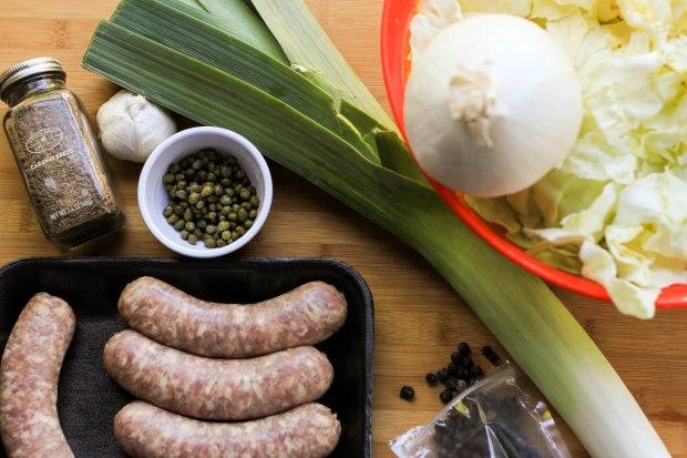 sausage and leeks